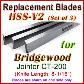 Set of 3 HSS Blades for Bridgewood 8'' Jointer, CT-200
