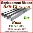 Set of 4 HSS Blades for Buss 20'' Planer, 208