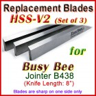 Set of 3 HSS Blades for Busy Bee 8'' Planer, B438