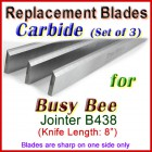 Set of 3 Carbide Blades for Busy Bee 8'' Planer, B438