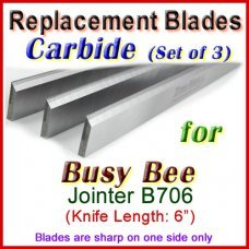 Set of 3 Carbide Blades for Busy Bee 6'' Jointer, B706