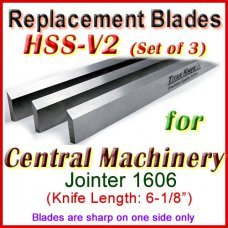 Set of 3 HSS Blades for Central Machinery 6'' Jointer, 1606