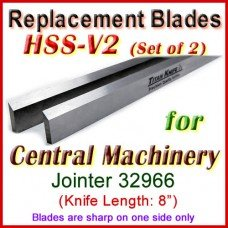 Set of 3 HSS Blades for Central Machinery 8'' Jointer, 32966