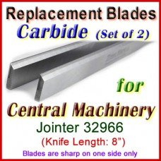 Set of 3 Carbide Blades for Central Machinery 8'' Jointer, 32966