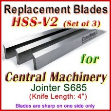 Set of 3 HSS Blades for Central Machinery 4'' Jointer, S685