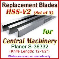 Set of 2 HSS Blades for Central Machinery 12'' Planer, S-36332