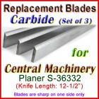 Set of 2 Carbide Blades for Central Machinery 12'' Planer, S-36332
