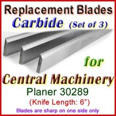 Set of 3 Carbide Blades for Central Machinery 6'' Jointer, 30289
