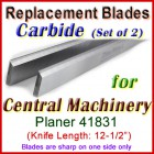 Set of 2 Carbide Blades for Central Machinery 12-1/2'' Planer, 41831