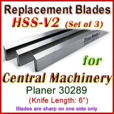 Set of 3 HSS Blades for Central Machinery 6'' Jointer, 30289