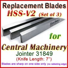 Set of 3 HSS Blades for Central Machinery 7'' Jointer, 31849