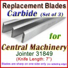 Set of 3 Carbide Blades for Central Machinery 7'' Jointer, 31849