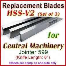 Set of 3 HSS Blades for Central Machinery 6'' Jointer, 599