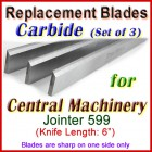 Set of 3 Carbide Blades for Central Machinery 6'' Jointer, 599