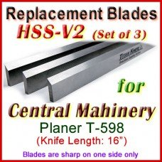 Set of 3 HSS Blades for Central Machinery 16'' Planer, T-598