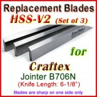 Set of 3 HSS Blades for Craftex 6'' Jointer, B706N