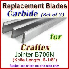 Set of 3 Carbide Blades for Craftex 6'' Jointer, B706N