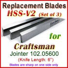 Set of 3 HSS Blades for Craftsman 6'' Jointer, 102.05600