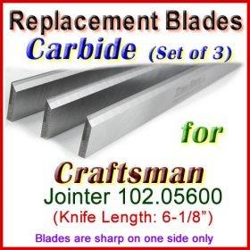Set of 3 Carbide Blades for Craftsman 6'' Jointer, 102.05600