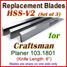 Set of 3 HSS Blades for Craftsman 6'' Planer, 103.1801