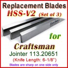 Set of 3 HSS Blades for Craftsman 6'' Jointer, 113.20651