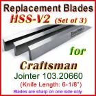Set of 3 HSS Blades for Craftsman 6'' Jointer, 103.20660