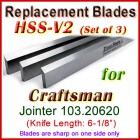 Set of 3 HSS Blades for Craftsman 6'' Jointer, 103.20620
