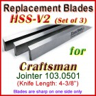 Set of 3 HSS Blades for Craftsman 4'' Jointer, Sears Roebuck Model 103.0501
