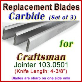 Set of 3 Carbide Blades for Craftsman 4'' Jointer, Sears Roebuck Model 103.0501