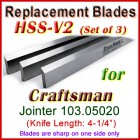 Set of 3 HSS Blades for Craftsman 4'' Jointer, 103.05020