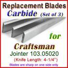Set of 3 Carbide Blades for Craftsman 4'' Jointer, 103.05020
