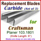 Set of 3 Carbide Blades for Craftsman 6'' Planer, 103.1801