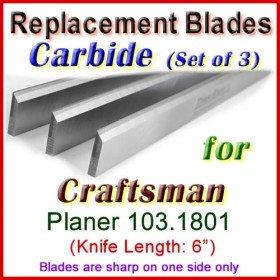 Set of 3 Carbide Blades for Craftsman 6'' Planer, 103.1801