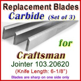 Set of 3 Carbide Blades for Craftsman 6'' Jointer, 103.20620