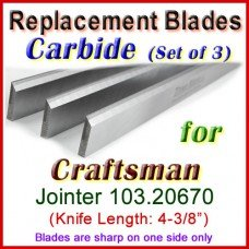 Set of 3 Carbide Blades for Craftsman 4'' Jointer, 103.20670