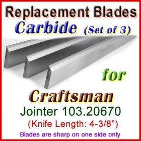 Set of 3 Carbide Blades for Craftsman 4'' Jointer, 103.20670