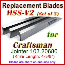 Set of 3 HSS Blades for Craftsman 4'' Jointer, 103.20680