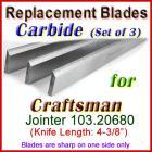 Set of 3 Carbide Blades for Craftsman 4'' Jointer, 103.20680