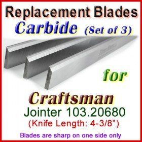 Set of 3 Carbide Blades for Craftsman 4'' Jointer, 103.20680