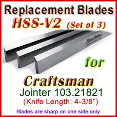 Set of 3 HSS Blades for Craftsman 4'' Jointer, 103.21821