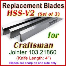 Set of 3 HSS Blades for Craftsman 4'' Jointer, 103.21860