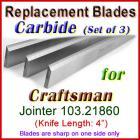 Set of 3 Carbide Blades for Craftsman 4'' Jointer, 103.21860