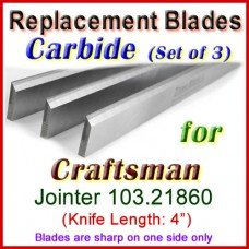 Set of 3 Carbide Blades for Craftsman 4'' Jointer, 103.21860