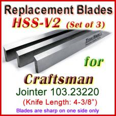 Set of 3 HSS Blades for Craftsman 4'' Jointer, 103.23220