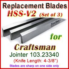 Set of 3 HSS Blades for Craftsman 4'' Jointer, 103.23340