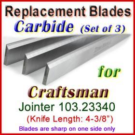 Set of 3 Carbide Blades for Craftsman 4'' Jointer, 103.23340