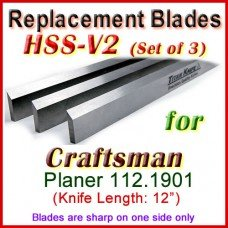 Set of 3 HSS Blades for Craftsman 12'' Planer, 112.1901