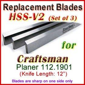 Set of 3 HSS Blades for Craftsman 12'' Planer, 112.1901