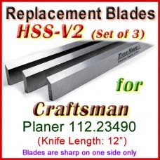 Set of 3 HSS Blades for Craftsman 12'' Planer, 112.23490