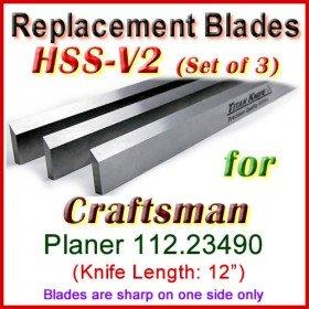 Set of 3 HSS Blades for Craftsman 12'' Planer, 112.23490